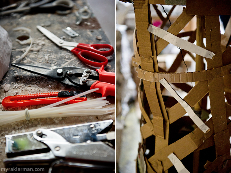 A Mad Dash towards FoolMoon + FestiFools 2012 | A rather photogenic array of tools lying about at the FestiFools studio. | The inner structure of many of the puppets is simply stapled, reused corrugated cardboard.