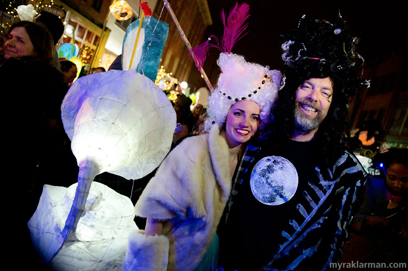 FoolMoon 2012 | FoolMoon luminary spokesmodel Meryl Waldo and FestiFools founder Mark Tucker greet all the revelers as they arrive to Washington Street. Dig that Victrola (conventional, late–twentieth century turntables may suffice for your typical hipster, but Meryl parties like it's 1903).