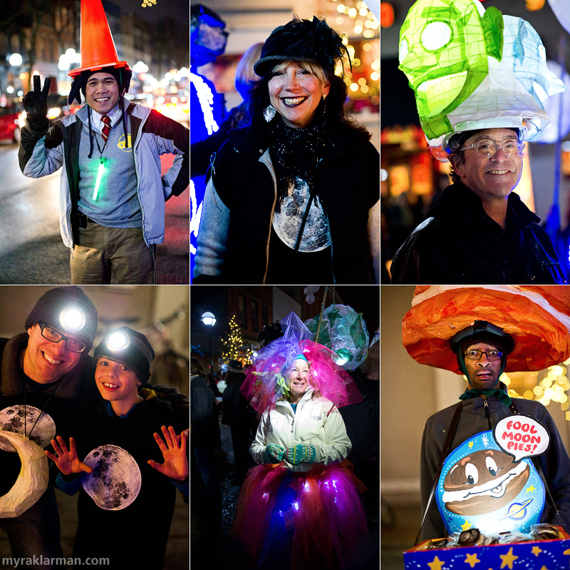 "FoolMoon 2012 | Fernando Yarza's homage to the Coneheads? | FestiFools steering committee member Gretchen Adracie was the brains (and brawn) behind the gigantic, full-moon luminary sculpture. | FoolMoon über-fan Rick Cronn is a man of many heads. | My boys flashing big grins and headlamps. | FestiFools steering committee member Jeri Rosenberg looking absolutely resplendent in the latest illuminated fashions. | Confectionery genius Bryant Stuckey (of Decadent Delight) really embraced the spirit of the event, donating 300 of his specially created ""Fool Moon Pies"" to the cause. And let me tell you, not only did he raise a bunch of cash to support all this Foolishness, but those pies were to die for."