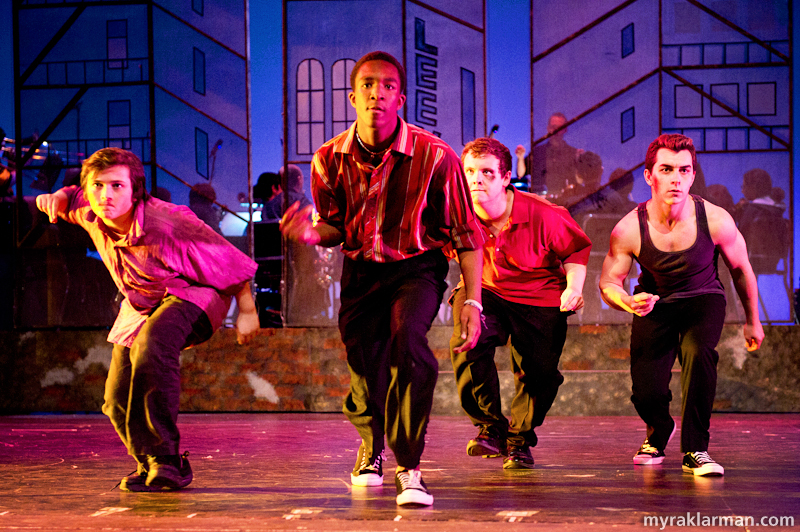 Pioneer Theatre Guild: West Side Story | Prologue: the Sharks (l-r: Isaiah Davis, Nick Washington, Mitch Fehrle, and Kyp Papageorgiou).