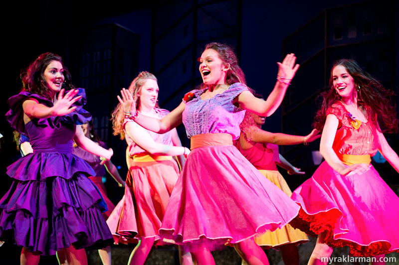 "Pioneer Theatre Guild: West Side Story | ""America"" (l-r: Carly Paull-Baird, Karina Stribley, Destiny Hughbanks, and Adina Nadler)"