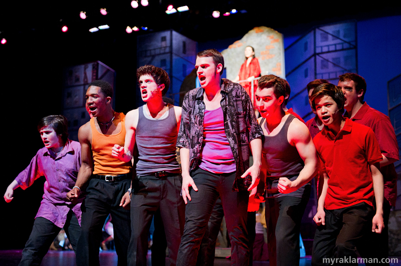 "Pioneer Theatre Guild: West Side Story | The Sharks in ""Tonight."" (l-r Isaiah Davis, Nick Washington, Jack Pilutti, Levi Brown, Kyp Papageorgiou, and Jonathan Jue-Wong)"