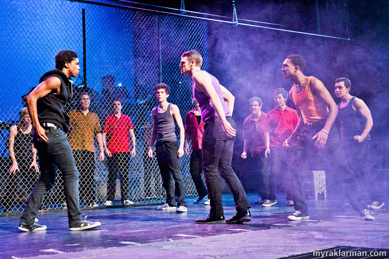 Pioneer Theatre Guild: West Side Story | The fist fight quickly escalates into a knife fight between Riff and Bernardo. (Sena Adjei and Levi Brown)