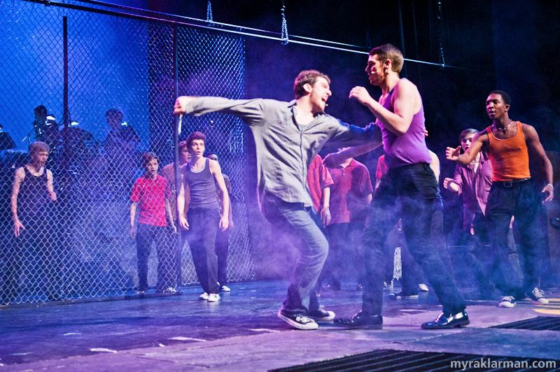 Pioneer Theatre Guild: West SideStory | Tony reflexively kills Bernardo just moments after Bernardo kills Riff.  (Ari Axelrod and Levi Brown)