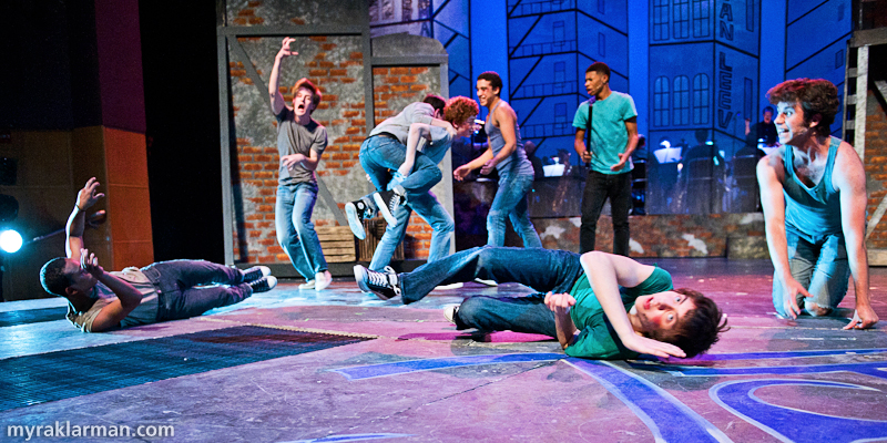 "Pioneer Theatre Guild: West Side Story | Action (far right, Hank Miller) leads the Jets in ""Gee, Officer Krupke."""