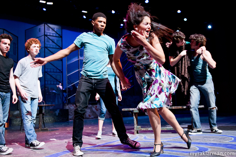 Pioneer Theatre Guild: West Side Story | Anita tries to get a message to Tony, but instead is taunted and physically brutalized by the Jets. (Duane Redmond and Carly Paull-Baird)