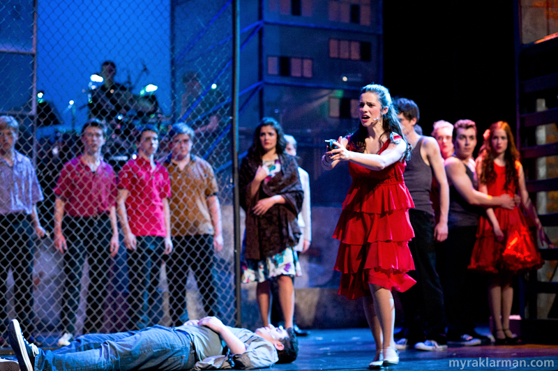 Pioneer Theatre Guild: West Side Story | After Tony is shot, Maria pulls the gun on the gang members. (Clare Higgins)