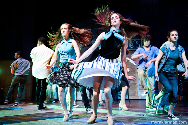 "Pioneer Theatre Guild: West Side Story | Jet girls (Molly Cocco and Claire Crause, center) in ""Cool."""
