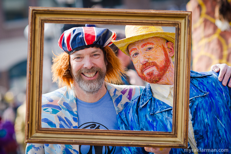 "FestiFools 2013 | Don't look now, but FestiFools founder Mark Tucker just ""portrait bombed"" Van Gogh! Impressionist painter / human canvas / performance artist / all-around good guy Will Soleau was appreciated in his time."