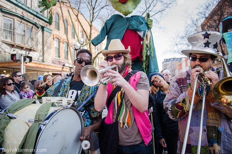 "FestiFools 2013 | I'm gonna ""Huff"" and puff and blow this horn all over Main St. (Sorry, couldn't resist.). Props to Mulugeta Mekonnen, Ross Huff, and Asim Khan (and Brennan Andes, not shown) for the swingin' live music!"