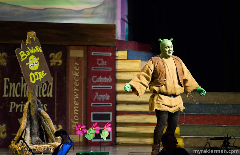 Shrek The Musical | Shrek (Andrew Nazzaro) just demonstrated his gardening prowess. A little potassium-rich flatulence in the flowers' general direction, et voilà — we have blooms. Nicely done, props!