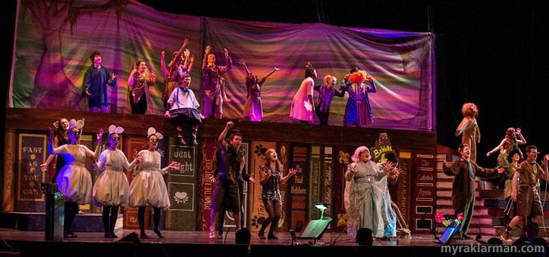 "Shrek The Musical | A menagerie of fairy tale characters are despondent to find themselves exiled from the Kingdom of Duloc and relocated to Shrek's swamp. The stage design takes the form of giant book shelf. The painted fabric backdrops are changed from scene to scene via an ingenious storybook metaphor — the ""page"" is turned by characters on the stage."