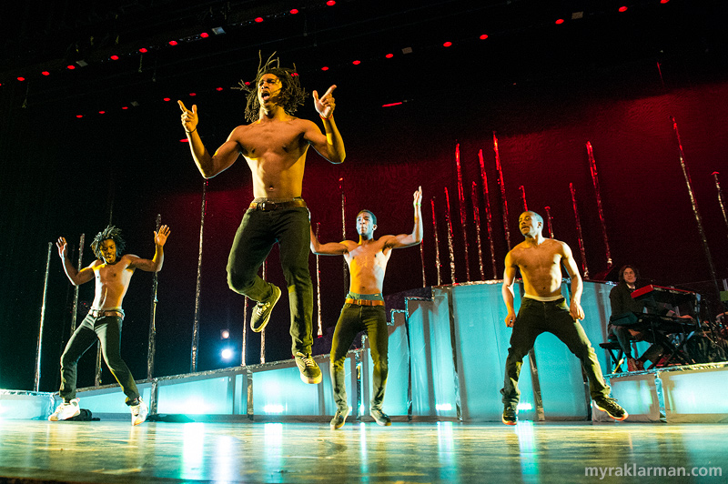 "FutureStars 2014 | The highly anticipated break-dancers Sena Adjei (center), Darius Sanderford, Nick Washington, and Deandre Jones were full of surprises with their ""Heartbreak Remix."""
