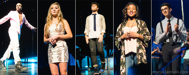 FutureStars 2014 | The hosts kept things moving in style all evening! From left: Tim Mpanje, Mackenzie O'Connor, Ryan Michaels, Aaliyah Jihad, & Reyaan Ali. (Not pictured: their Teletubby alter egos.)