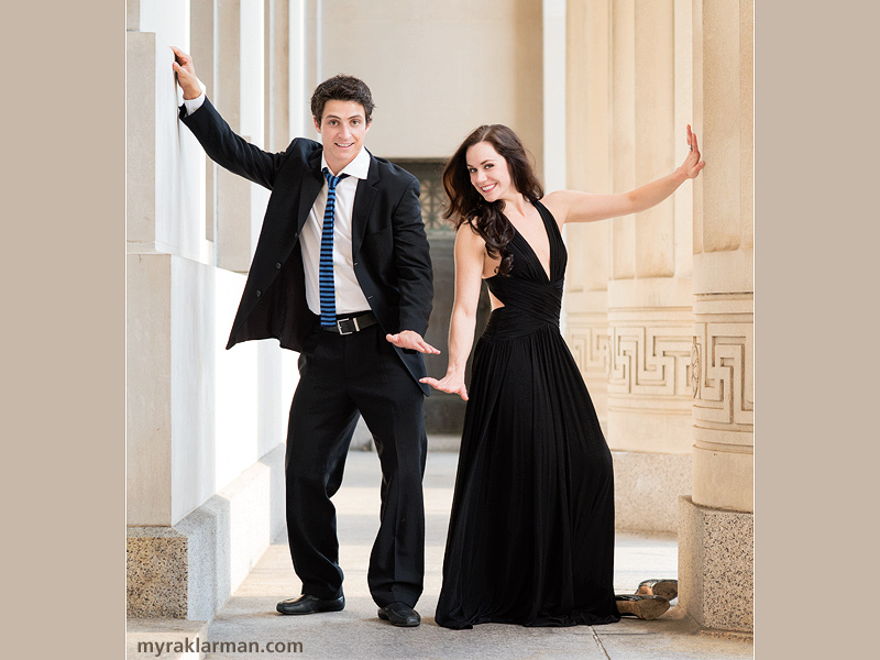 Tessa Virtue + Scott Moir: Fall 2013 Shoot | Surf's up at Angell Hall (designed by premier architect Albert Kahn in 1924).