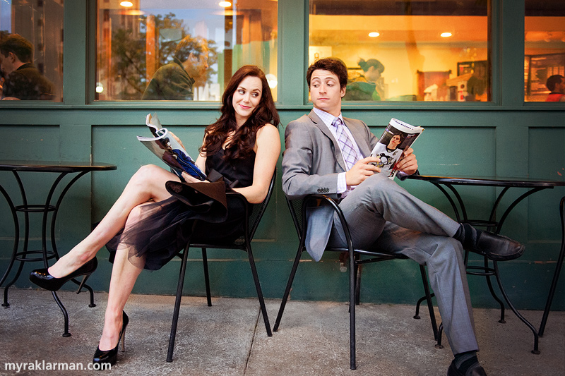 Tessa Virtue + Scott Moir: Fall 2013 Shoot | Tessa and Scott each pitying the other for their choice of reading material.