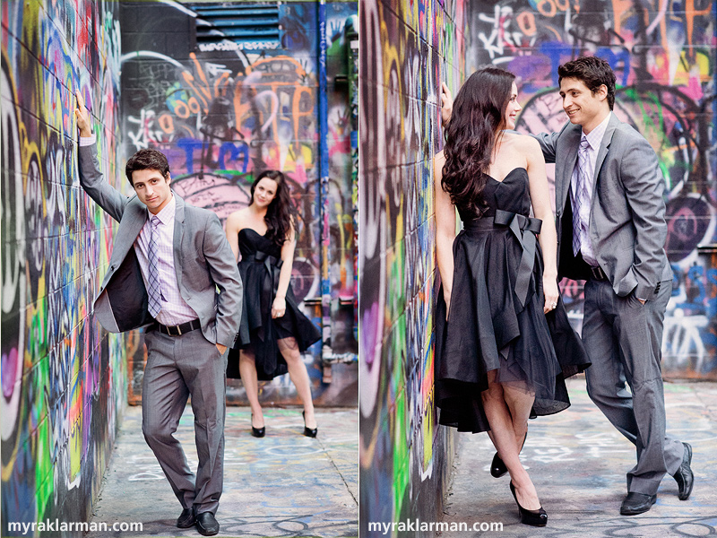 "Tessa Virtue + Scott Moir: Fall 2013 Shoot | Holding their own, even in the visual cacophony of ""Grafitti Alley."""