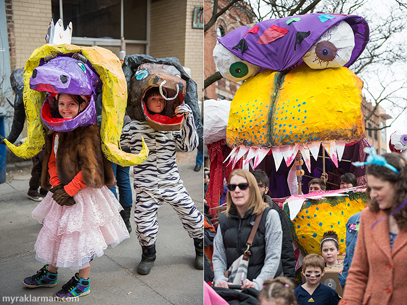 FestiFools 2014 | So happy that a herd of young, fashionable water buffalo managed to find FestiFools. |  This monstrous puppet, aka The Monster, was created by U-M students Will Hammond and Vedant Dalmia.