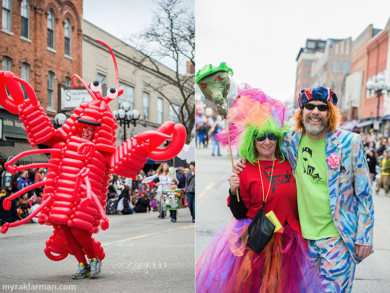 FestiFools 2014 | I have it on good authority that local balloon artist extraordinaire Carolynn Hayman, of POP! Designs & Creations, LLC, is ready for rapid deployment as a balloon-lobster — anytime, anyplace, and for any reason (or no reason) at all. | WonderFool Productions (WFP) fundraising director Jeri Rosenberg with WFP founder/creative director Mark Tucker.