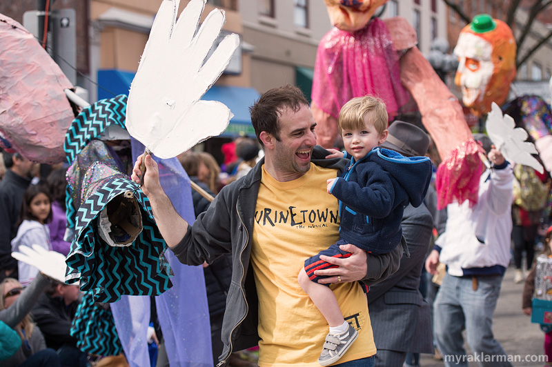 FestiFools 2014 | Community High School teacher Quinn Strassel does double duty: puppet in one hand, adorable son in the other.