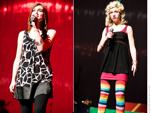 FutureStars 2008 | Loved their vibes: Morgan Minger-Szyniszewski (FutureStars finalist) and Clare Eisentrout (Comedy Troupe performer).