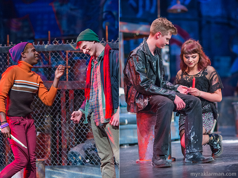"Pioneer Theatre Guild: Rent | The first glimpses of falling in love are shown in these two shots: Angel and Collins (Robbie Stephens and Caleb Horvath) in ""You Okay, Honey?"" 