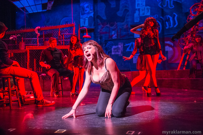 "Pioneer Theatre Guild: Rent | Starting at the club where she is working and ending in Roger's apartment, Mimi (Olivia Roumel) gorgeously belts out her plea to Roger: Take me ""Out Tonight""!"