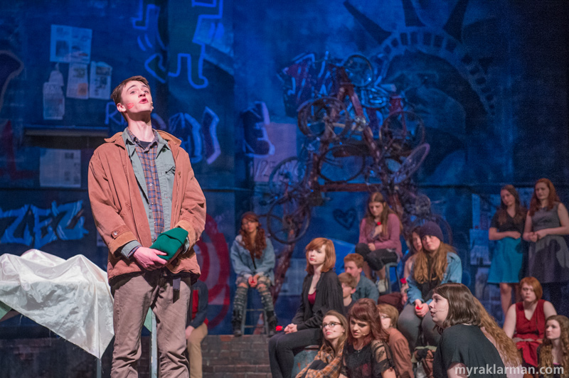 "Pioneer Theatre Guild: Rent | Tom Collins (Caleb Horvath) shares his love and heartbreak over Angel's death in ""I'll Cover You (Reprise)."" There wasn't a dry eye in the audience or on the stage — or backstage, for that matter."