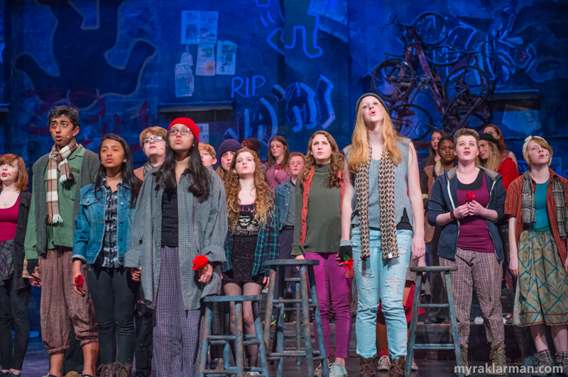 Pioneer Theatre Guild:Rent   By the end of the number, the entire cast had joined in to celebrate the life, and mourn the loss, of Angel Dumott Schunard.