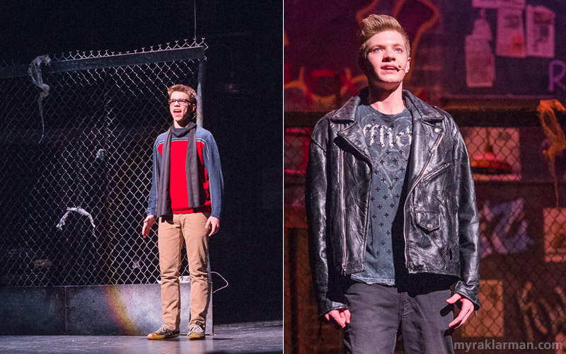 "Pioneer Theatre Guild: Rent | Mark Cohen and Roger Davis (Remington Reackhof and Nathan Stout), now on opposite sides of the country, perfectly sing the powerhouse rocking number ""What You Own."" By the end of the number, the pair are back in their New York apartment and hugging."