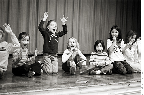 Auspicious Beginnings | Brigadoon (2005) | The first and second graders rehearse in the Burns Park Elementary School auditorium. They were practicing being startled.