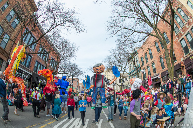 "FestiFools 2015 | Do some of these giant puppets look familiar? Well, you've got a good eye, my man. Rumor has it that several papier-mâché titans from FestiFools past staged a rebellion (from the rafters of the FestiFools studio) and demanded a chance to relive their hour of glory on Main Street. The WonderFool Productions board, acknowledging their own pangs of nostalgia, ultimately acceded to the rebel-puppets' request. It was decreed that this year's FestiFools theme would be ""Déjà Fool."" And there was much rejoicing in the streets."
