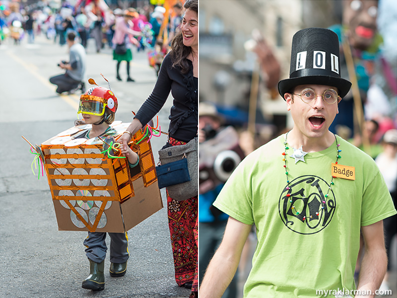 "FestiFools 2015 | This crash-helmeted robot was sanctioned for ""peddling pipe cleaners without previously procuring the proper permit."" 