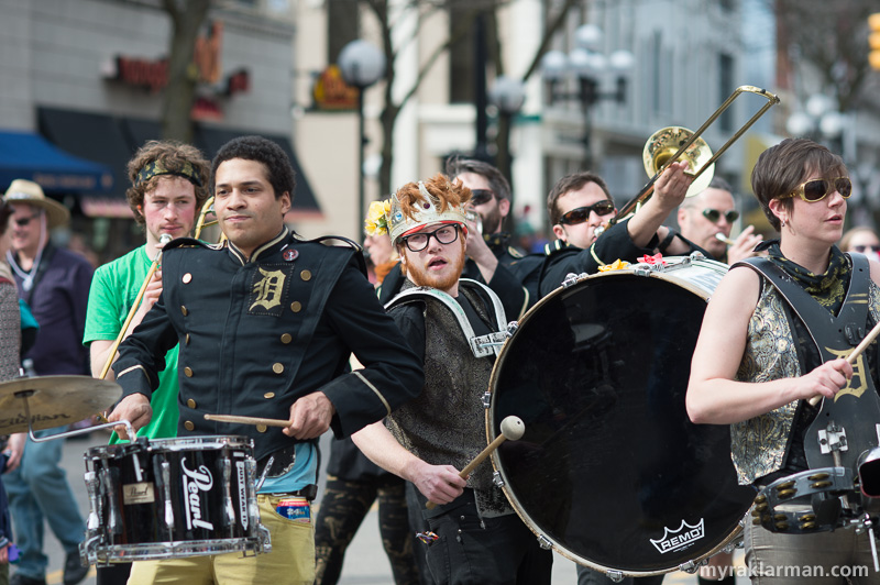FestiFools 2015 | The Detroit Party Marching Band really upped the street party, Mardi Gras quotient. Thanks so much, guys, for bringing your energy and zeal — and HUGE SOUND — to the streets of Tree Town!