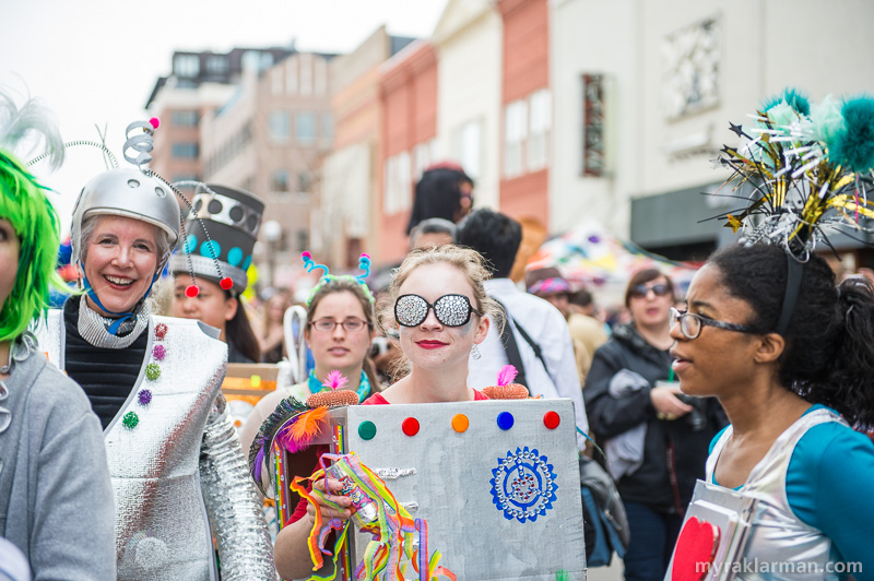 FestiFools 2015 | Ann Arbor District Library storyteller Laura Raynor (left) leads the robot invasion.