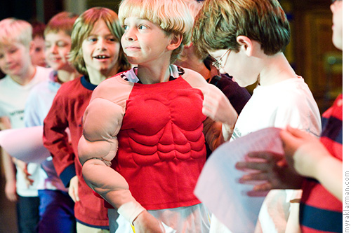 Auspicious Beginnings | Beauty and the Beast (2008) | The third grade boys during rehearsal at Tappan. I can't be sure, but I think one of them might be juicing.