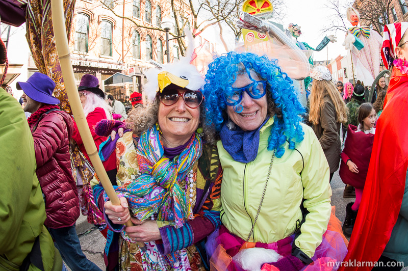 FestiFools 2016 | Volunteer puppet wrangler Rena Basch with WonderFool Productions board member Jeri Rosenberg.