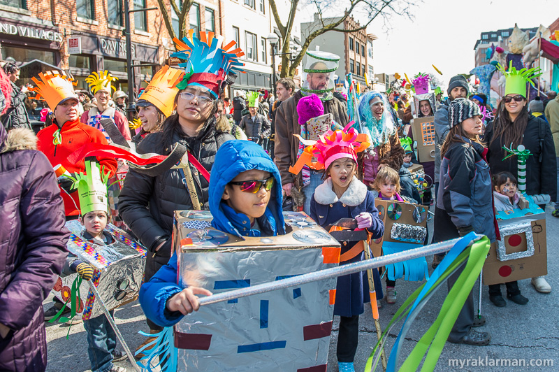 FestiFools 2016   The Ann Arbor District Library again unleashed its Robot Invasion of FestiFools. They make the robots ridiculously cute, so we humans won't suspect anything until it's too late for us to stop our ultimate subjugation. (Notice those retro Frond hats? The AADL brought back a classic from FestiFools 2010. Très chic!)