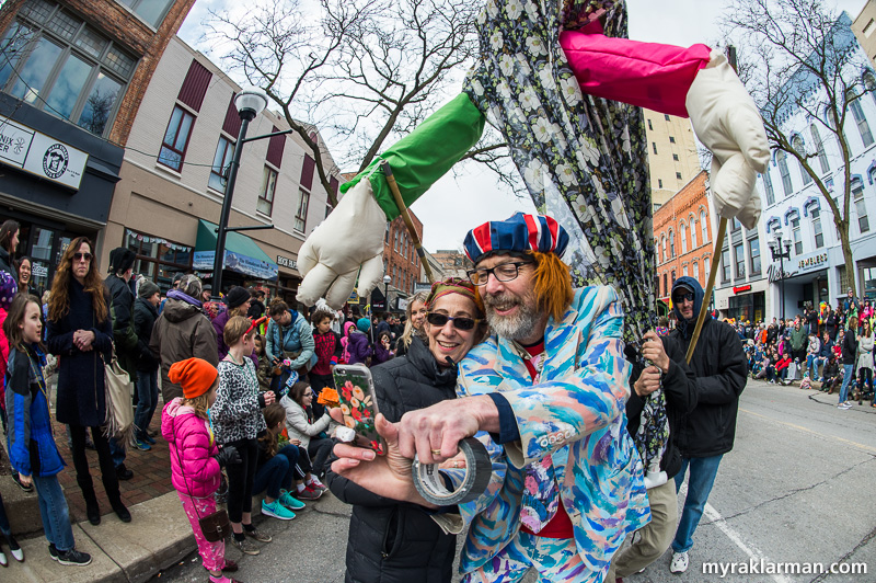 FestiFools 2016   FestiFools founder Mark Tucker and Ann Arbor's Queen of Style, Vicki Honeyman, snap a selfie moments before being crushed by giant hands.