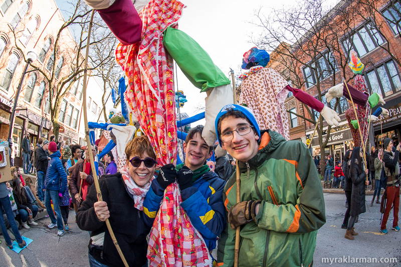 FestiFools 2016 | Volunteer puppet wrangler Deb Odom Stern with her sons.
