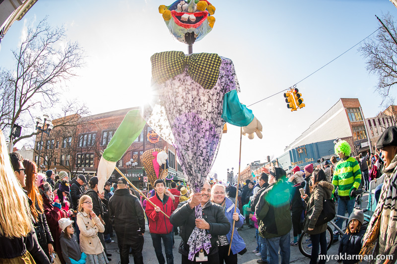 FestiFools 2016   The clock just struck 5pm. Time for all the puppets to leave Main St. and find their transportation.