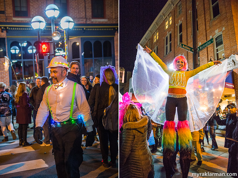 FoolMoon 2016 | Longtime WonderFool volunteer Fernando Yarza always lights up the party! | Angelic Courtney Merta dazzles on stilts.