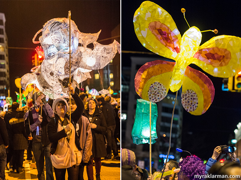 FoolMoon 2016   This giant white luminary (on the left) with, like, a gazillion eyes was created at the Neutral Zone in a course taught by Lavinia Hanachiuc.