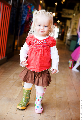 Make-A-Wish: PrincessIzzy | While Izzy changed into her next outfit, li'l sis Ryan modeled some boots that Elephant Ears had on display. Ryan likes to mix and match.