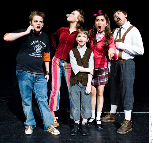 Pioneer Theatre Guild: Willy Wonka (Publicity Shoot) | The four naughty children with Charlie Bucket (Milo Tucker-Meyer).