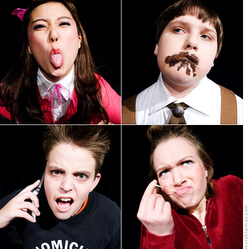Pioneer Theatre Guild: Willy Wonka (Publicity Shoot) | The four naughty children (clockwise from upper-left): Veruca Salt (Ashley Park), Augustus Gloop (Kiel Lerch), Violet Beauregarde (Clare Eisentrout), and Mike Teavee (Schuyler Robinson).