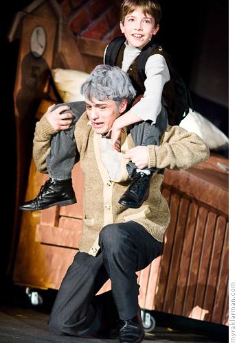 Pioneer Theatre Guild: WillyWonka | The theretofore bedridden Grandpa Joe (Sam Hubbard) accompanies Charlie (Milo Tucker-Myer) to Wonka's factory.