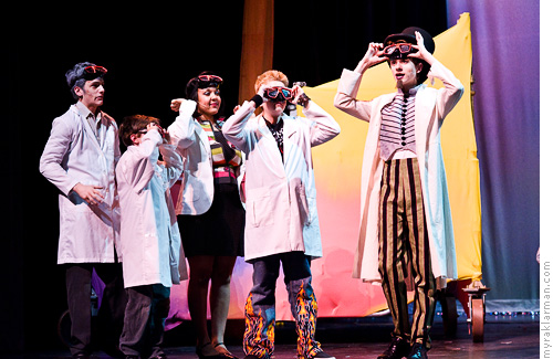 Pioneer Theatre Guild: Willy Wonka | Preparing to enter Wonka's television room. (l-r: Sam Hubbard, Milo Tucker-Meyer, Hope Parow, Schuyler Robinson, Max Rasmussen)