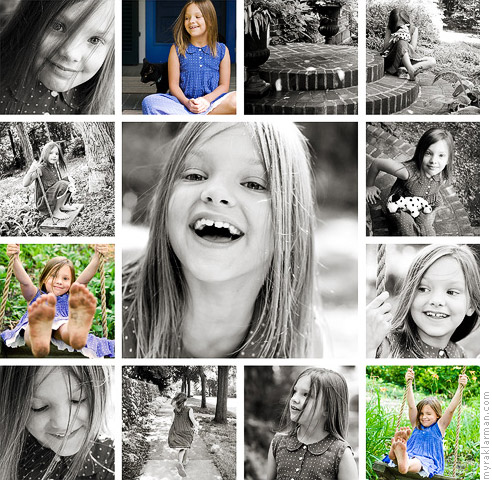 DawnInspires | Using my new template from Dawn Mikulich. I love how this 8-year-old's portraits play off each other in this configuration. You can almost get a sense of how much we ran around together during the session!