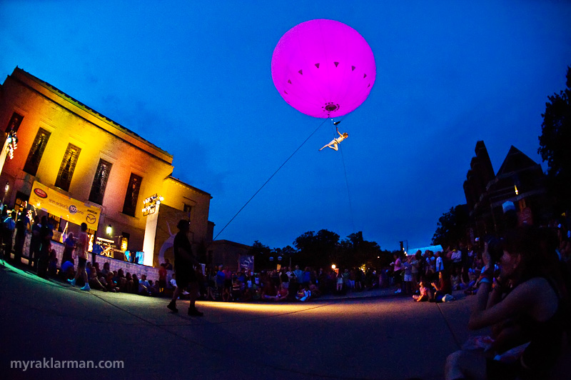 Ann Arbor Summer Festival 2008 | Dream Engine's Heliosphere: the ineffable, atomic-boysenberry iridescence of a giant helium balloon… Wow!